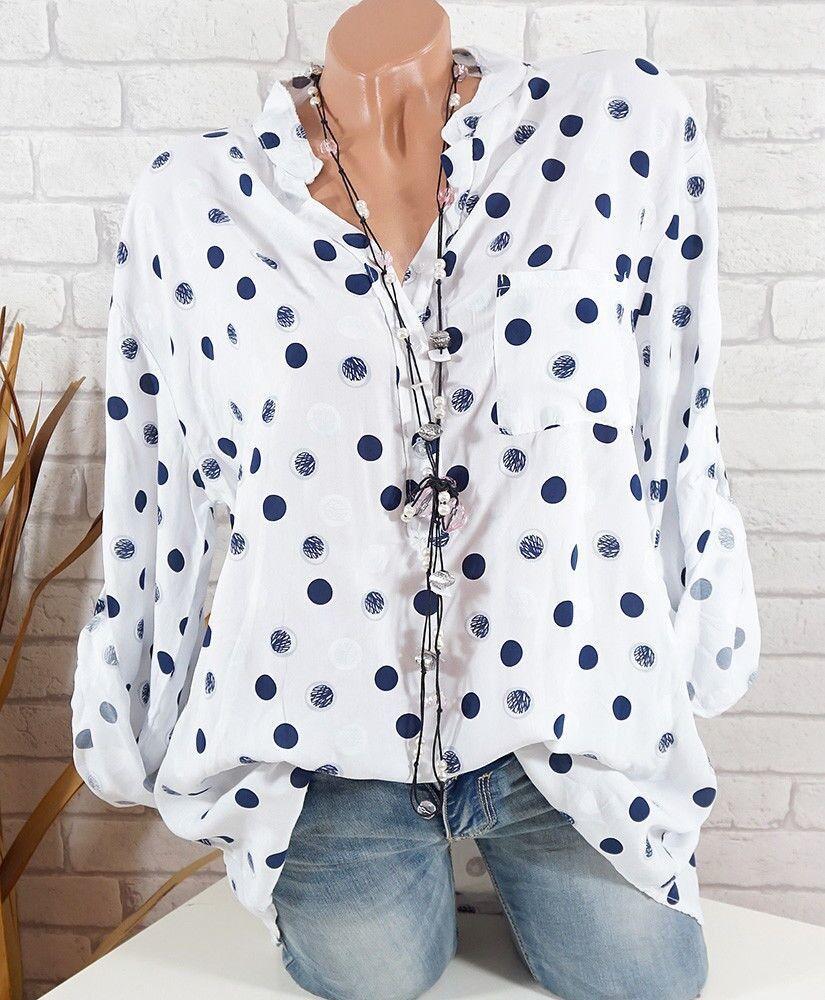 Lente Zomer Shirts Dames Casual Verstelbare Lange Mouwen Polka Dot - Dameskleding