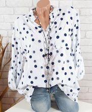 Ανοιξιάτικα καλοκαιρινά πουκάμισα Γυναικεία περιστασιακά ρυθμιζόμενα με μακρύ μανίκι Polka Dot Εκτυπώσιμη στάση Τσέπες για κολάρα Button Μπλούζες Tops Size 5XL 2018
