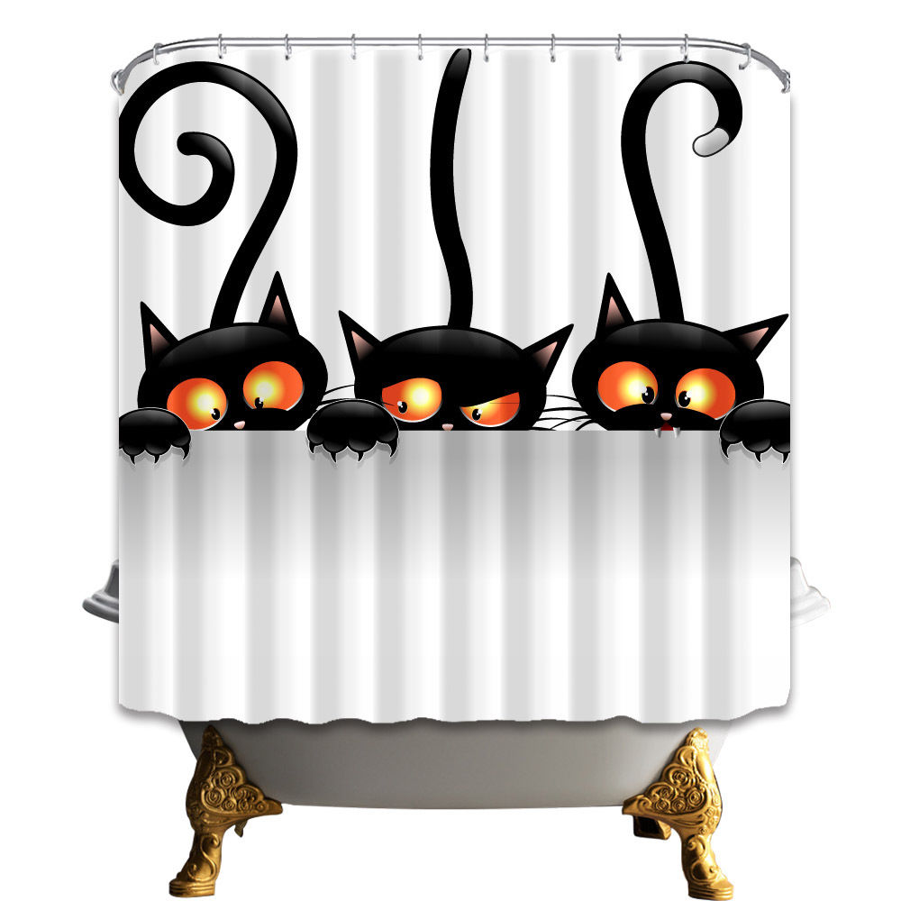 Warm Tour Halloween Cute Black Cat Bathroom Fabric Shower