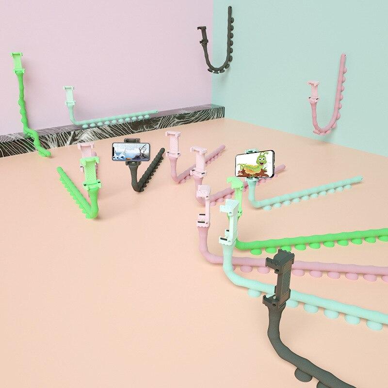 Cute Caterpillar Lazy Bracket Mobile Phone Bracket Worm Live Bracket Suction Cup Support Wall Desktop Pillar Holder Car Gadget