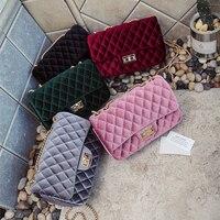 Luxury Brand Handbag Winter Velvet Diamond Lattice Chain Bag Women Messenger Bags Female Crossbody Shoulder Bags