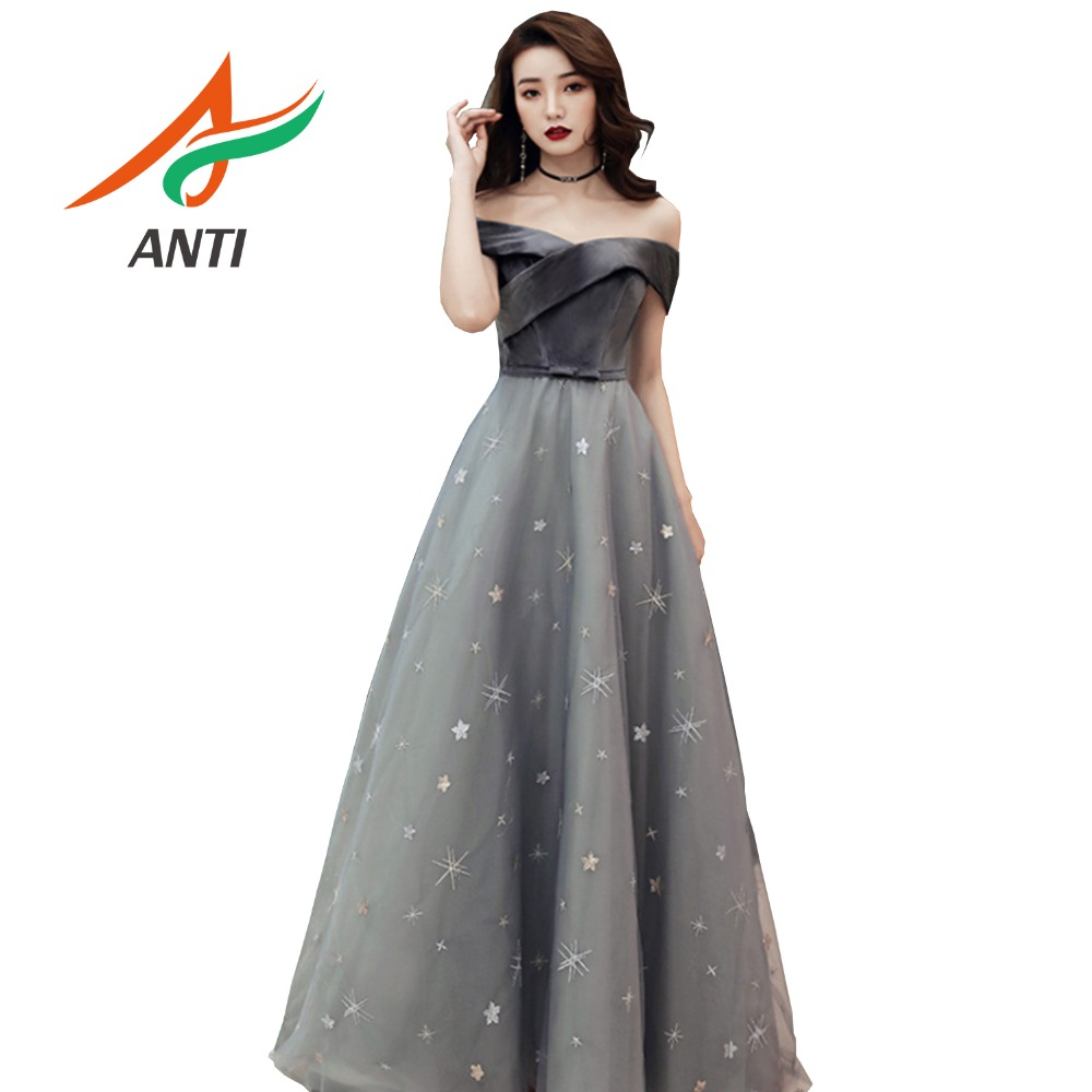 ANTI élégant a-ligne longues robes De soirée 2019 Tulle hors De l'épaule Robe De soirée femmes formelles robes De soirée avec nœud ceintures