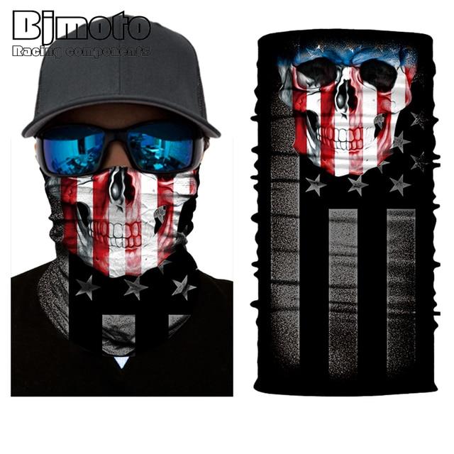 BJMOTO Cool Skull Magic Head Face Mask Multi Wear Tube Bandana Durag Biker Motorcycle Scarf 2