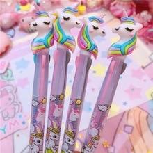 72pcs/lot Korean cartoon multicolor ballpoint pen silica gel head 3-color Unicorn