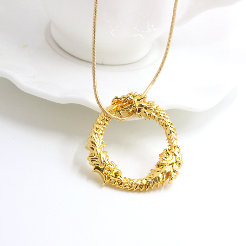 3D RPG Game The Elder Scrolls V: Skyrim Dragon Necklace Pendant Ouroboros Necklace Women Men Vintage Necklace