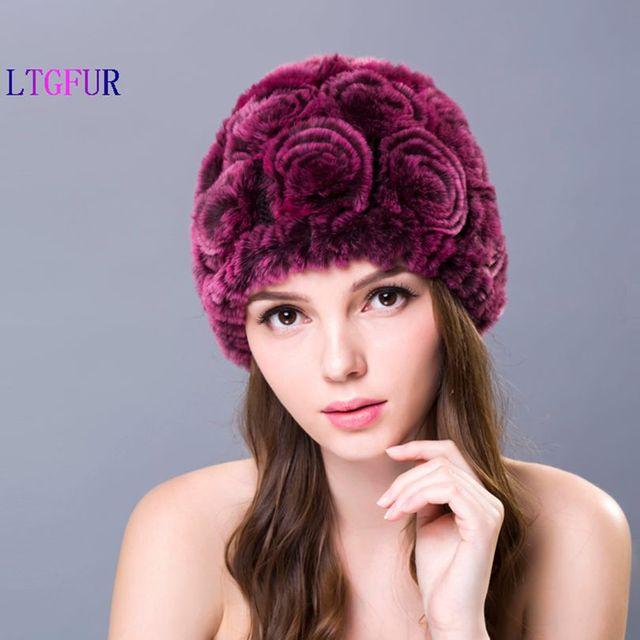 LTUR 2016 New Design Genuine Rex Rabbit Fur Hat Free Shipping Women's Leather Rose Hat Russian women Fur hats