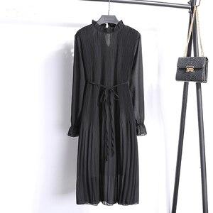 Image 2 - New Spring WomenS Version Stand Chiffon Flower Long Sleeve Pleated Dresses FemaleS Large Size Dresses Women chiffon dress