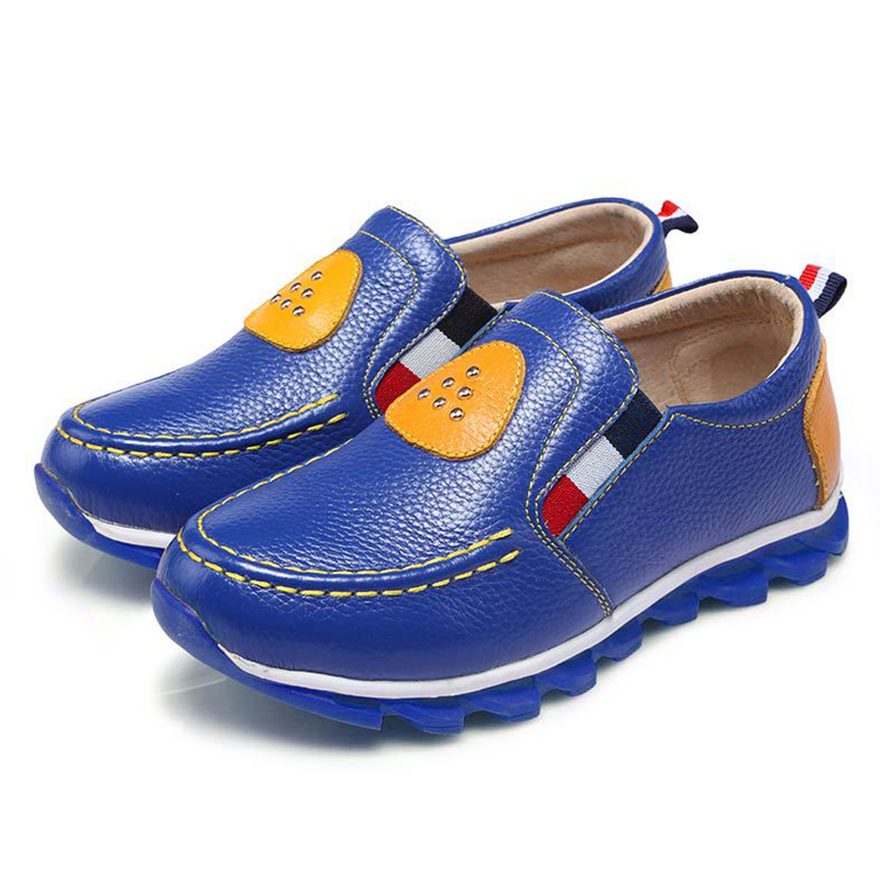 2018 spring new childrens shoes childrens casual shoes boys Leather shoes students black yellow blue peas shoes ventilation