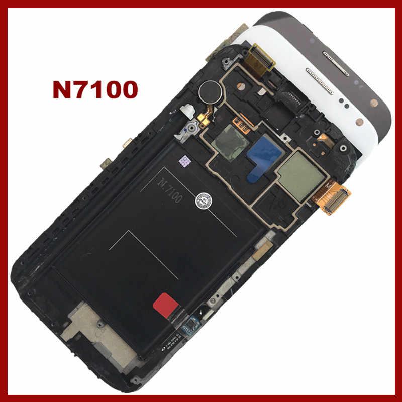 100% Được Kiểm Tra Super AMOLED LCD Dành Cho SAMSUNG Galaxy Note 2 N7100 Note2 MÀN HÌNH Hiển Thị LCD với Khung Nút Màn Hình Cảm Ứng Bộ Số Hóa lắp ráp