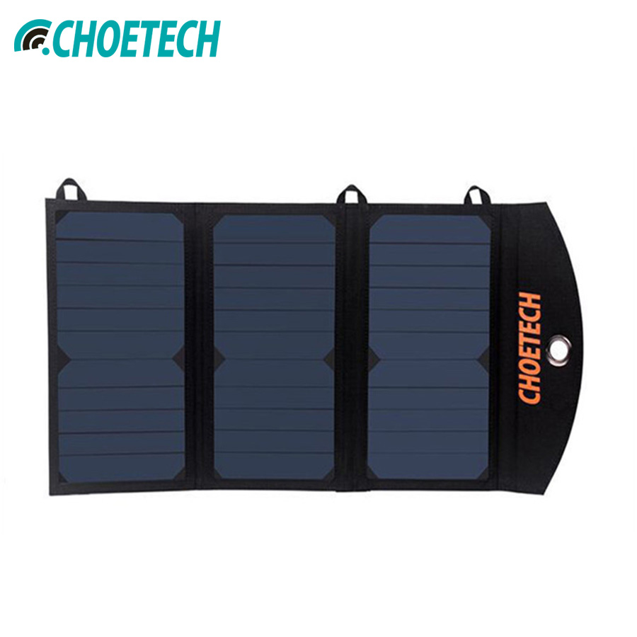 CHOETECH Portable Solar Phone Charger with Dual USB Port and Auto Detect Tech for iPhone 6S