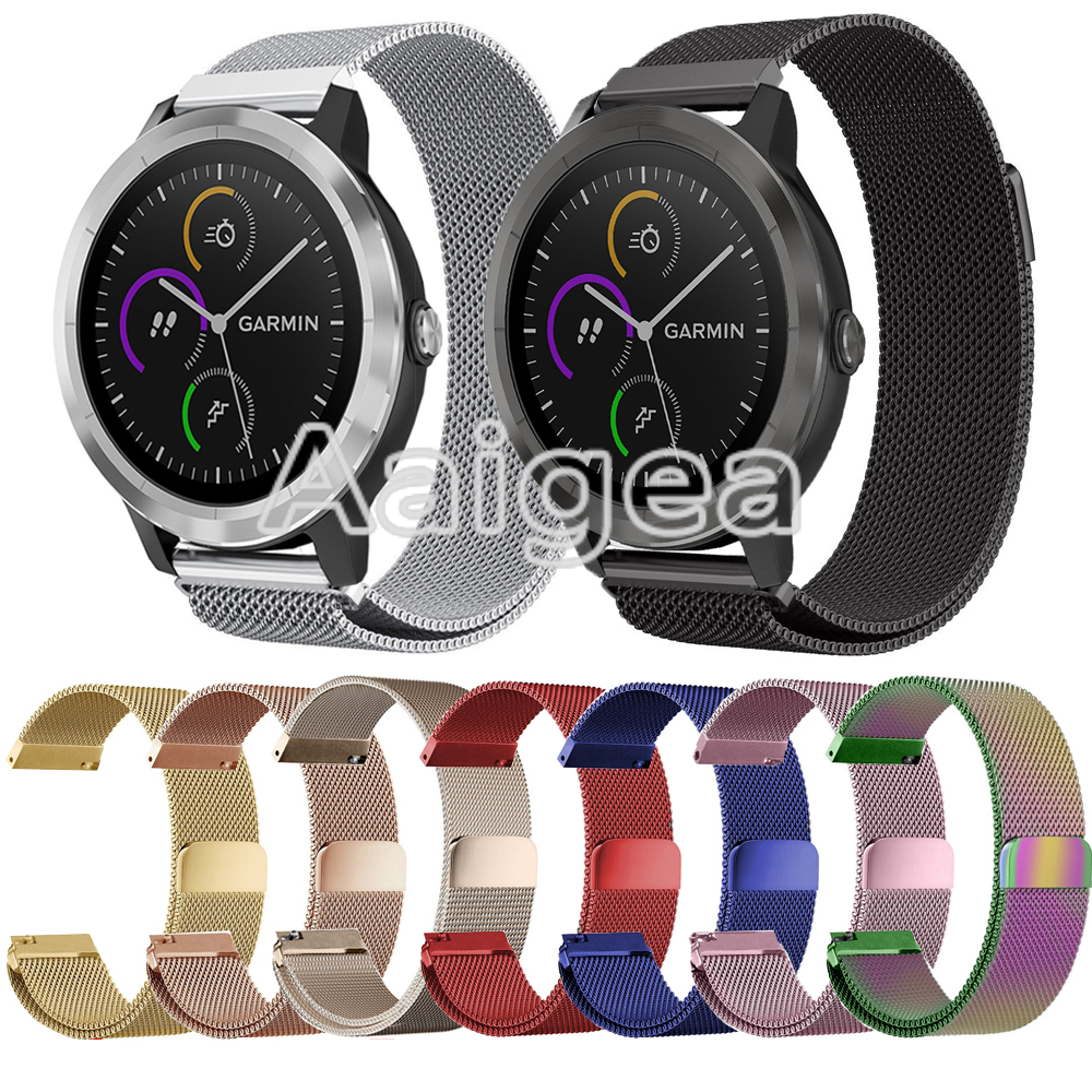 Milan Magnetic Loop Stainless Steel Strap for Garmin Vivoactive 3 Smart Watch Colorful Replacement Soft Band Metal Watchbands цена