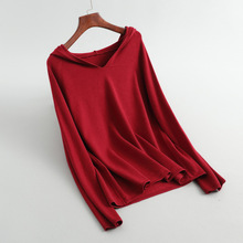 Shuchan Women Sweater with Hooded Casual Loose Sweaters and Pullovers Solid Korea Fashion 2019 8-2073