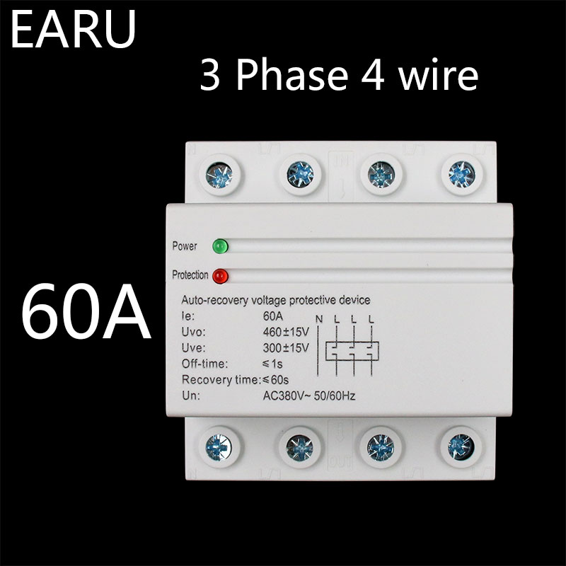 1pc 60A 380V 3P+N Din Rail Self Recovery Restore Automatic Reconnect Over & Under Voltage Lightening Protection Protective Relay