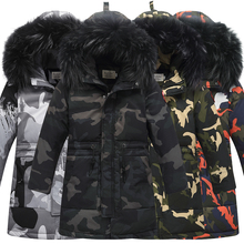 Winter Childrens Down Jackets Camouflage style Boy Down Coats Fur Teenager Kids parka Down Outerwear  30degree 9958 130CM 160CM
