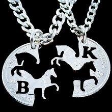 Inicial estampada mano BK colgante , collar de caballo, Corren de enclavamiento collares pendientes de los pares, bisutería barata del amante