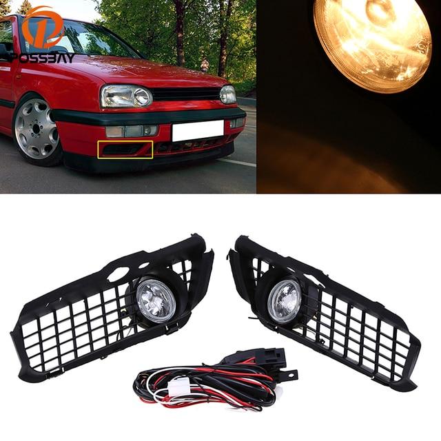POSSBAY Halogen/LED Car Fog Light Assembly Daytime Running Driving Fog Lamps for 1993/1994/1995-1998 VW Golf Jetta Models Only