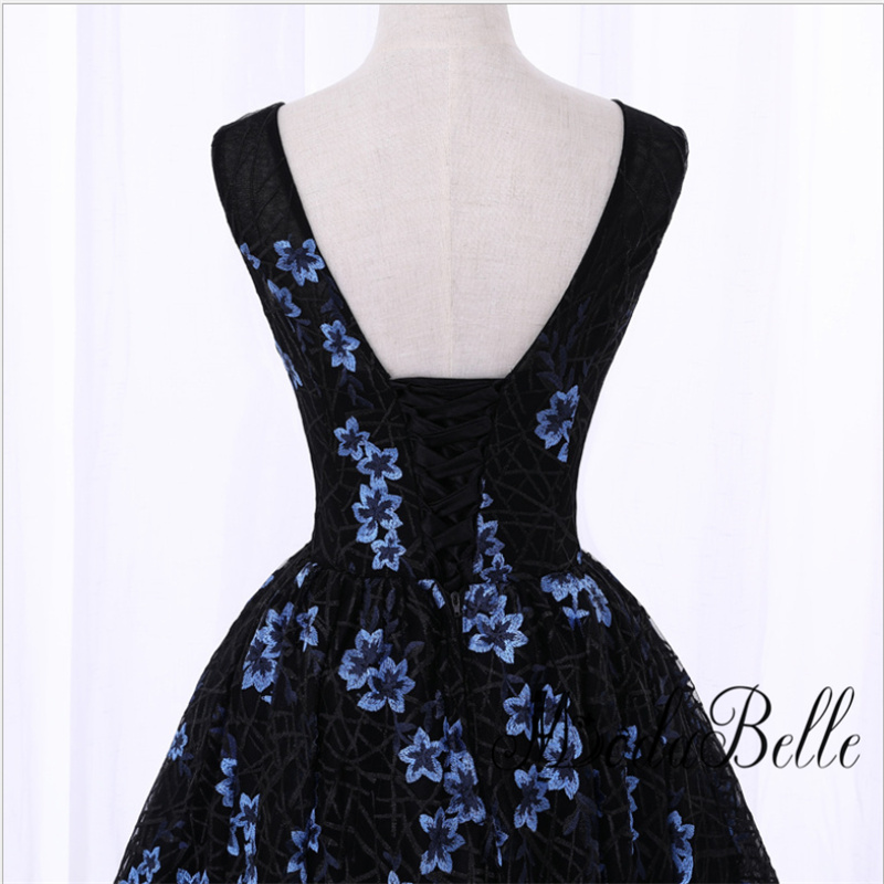 Black Short Front Long Back Flowers Floral Prom Dress Evening dress Cheap  Junior Girls Scoop Neck Lace Formal Homecoming Dresses-in Prom Dresses from  ... 8cd31590bce1