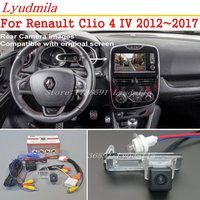 Lyudmila Car Backup Camera With 24Pin Adapter Cable For Renault Clio 4 IV 2012~2017 Original Screen Compatible Rear View Camera