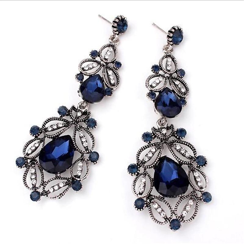 Νέο σκουλαρίκια Retro Rhinestone για γυναίκες Γυαλί Σκουλαρίκια Κοσμήματα Κοσμήματα Boucle D'oreille Femme Pendientes Mujer Moda Orecchini