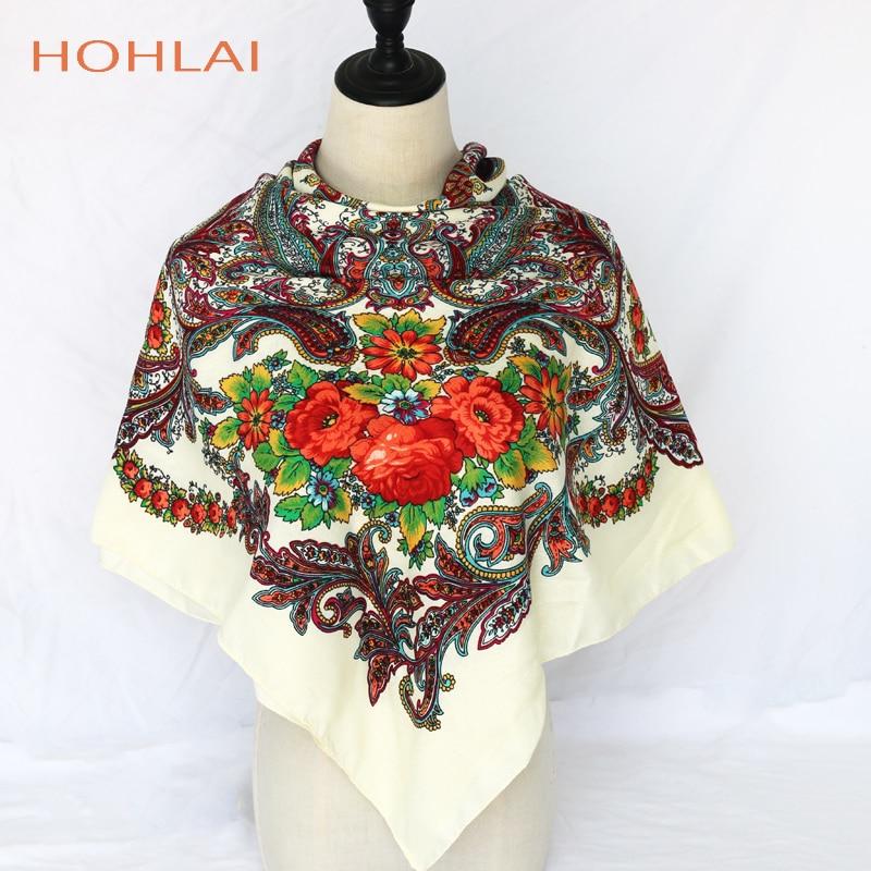 Big Square 120*120CM Twill Scarf Bohemia Ethnic Flowers Vintage Style Winter Autumn Muslim Woman Lady Scarf