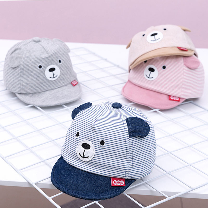 New Cartoon Bear Children Hat Spring Summer Baby Adjustable Baseball Cap Cotton Newbron Caps Soft Sunhat Baby Accessories 3-12M