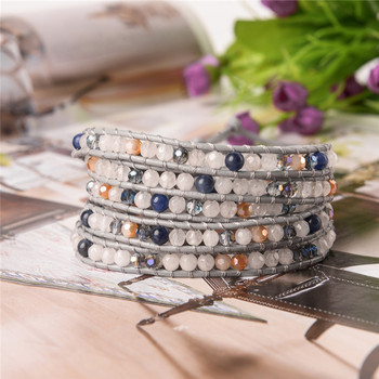 Ygline  women boho bracelet  natural stone 5x leather wrap bracelet  stone beaded bracelet drop shippping