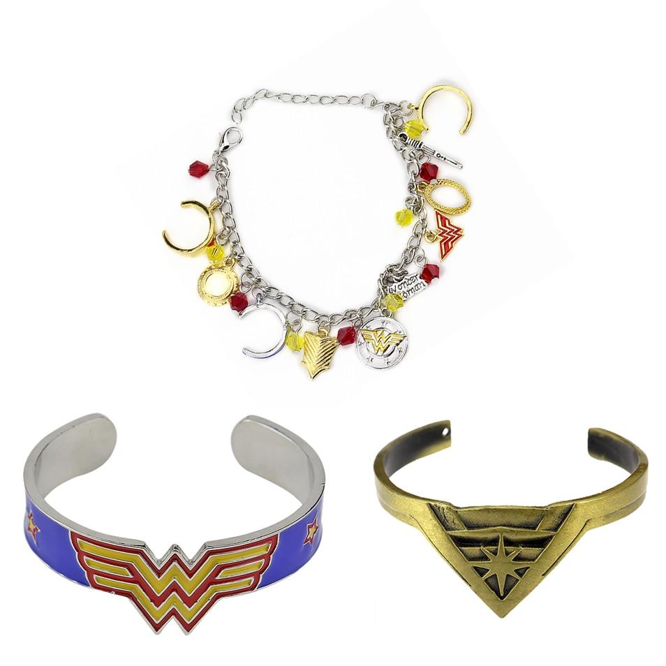 Горячая Фэнтези Вселенная Wonder Woman браслет супергероя W Логотип Шарм Корона щит пентаграмма A Браслеты и браслет