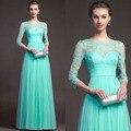Великолепная Vestidos 2016 новые Nesign элегантные кружева рукав платье мода невидимый пояс длинное вечернее платье может быть настроена