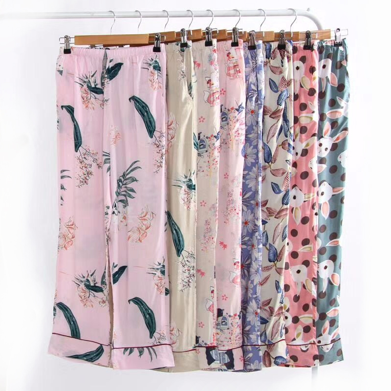 Summer cool rayon Floral sleep bottoms women plus size soft loose pajamas Lounge pants women fresh home trousers casual pants 1