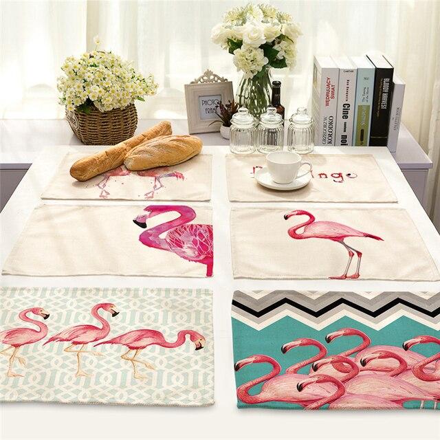 Einseitige Flamingo Gedruckt Leinen Servietten Matten Tischdecke ...