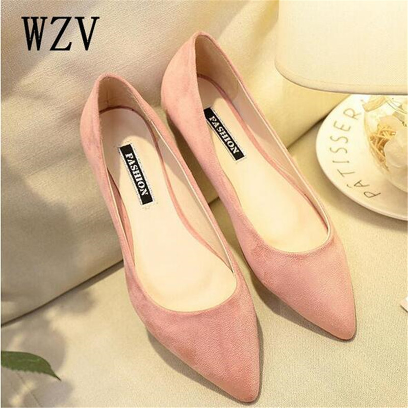 2018 New Women Suede Flats Fashion High Quality Basic Mixed Colors Pointy Toe Ballerina Ballet Flat Slip On women Shoes C293 2018 new women flats fashion soft bottom diamond pointy toe ballerina ballet flat slip on women shoes b201