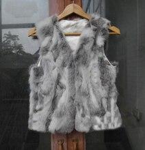 Free Shipping New Genuine real natural rabbit fur vest women's fashion Coat winter Vest Short Design Waistcoat Wholesale price