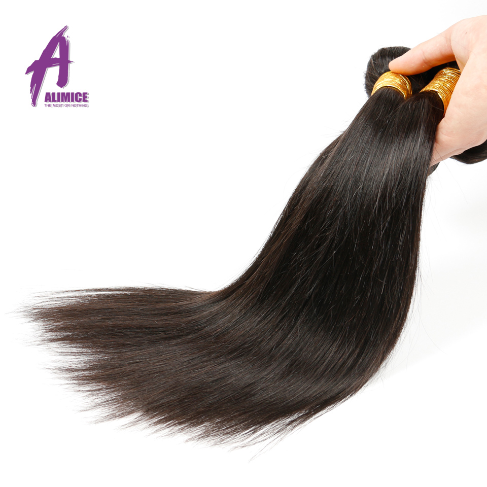 Alimice Indian Straight Hair Weave 100% ადამიანის - ადამიანის თმის (შავი)
