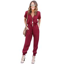 XiaGuoCai 2017 Deep V Sexy Women Jumpsuits Wine Red Boot Cut Chiffon Female Rompers Fashion Clothing G45 35(China)