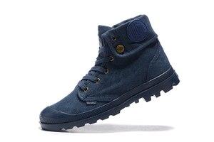 Image 5 - PALLADIUM Pallabrouse Zapatillas de tela vaquera para hombre, botines militares, informales, talla Europea 39 45, color azul