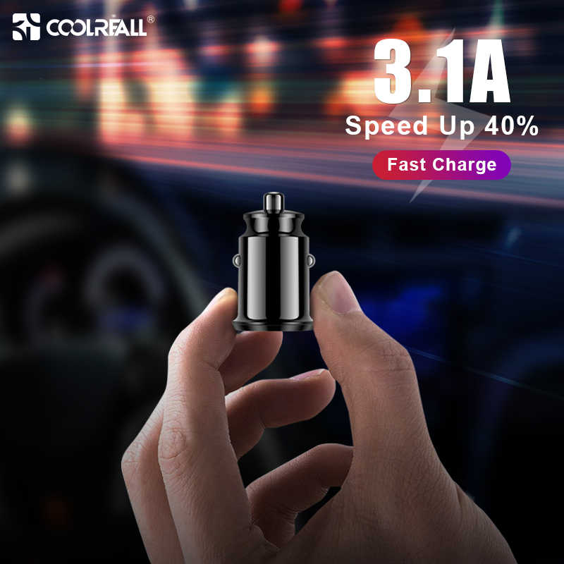 Coolreall Mini USB Car Charger Adapter 3.1A With  Digital LED Display Universal Dual USB Phone Car-Charger for Samsung iPhone
