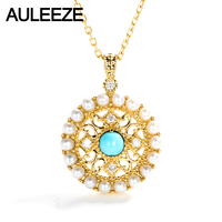 AULEEZE Vintage Natural Turquoise Pearl Pendant Solid 18K Yellow Gold Pendant Necklace For Women Real Diamond Fine Jewelry