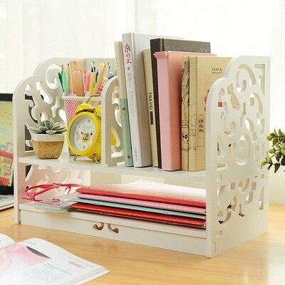 ФОТО Fashion Carved Office Tray Organizer Desktop Books Shelf Storage Rack,White Wooden Tray For Desk Organizer