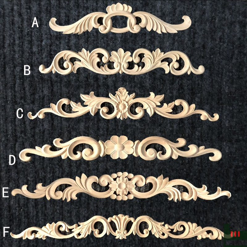 4Pcs/Lot Long Wood Carved Applique Framed Onlay Furniture Decoration Unpainted Unfinished Millwork Ornamental Decor Appliques