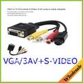 VGA к ТЕЛЕВИЗОРУ S-Video 4Pin 3 RCA AV Кабель-Адаптер VGA для rca AV Splitter Конвертер Адаптер Кабель для ПК