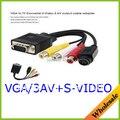 VGA para TV S-4Pin 3 RCA AV Cabo Adaptador de Vídeo VGA para rca AV Splitter Cabo Adaptador Conversor para PC
