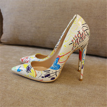 Free shipping fashion women Pumps lady white Graffiti Printed Pointy toe high heels shoes size33-43 12cm 10cm 8cm Stiletto heels fashion sweet women 10cm high heels pumps female sexy pointed toe black red stiletto high heels lady pink green shoes ds a0295