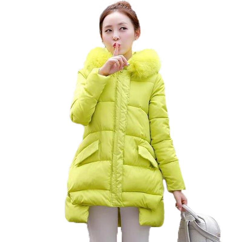 Women Winter Jackets and Coats 2016 New Fur Collar Hooded Long Wadded Coat Irregular Hem Parka Female Loose Plus Size PW0088