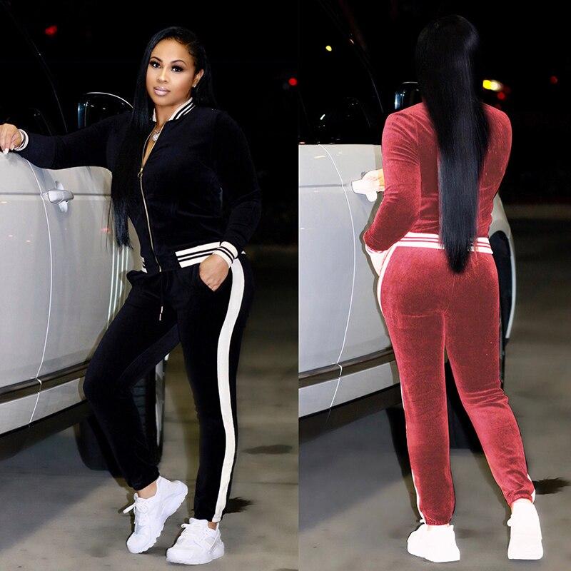 2 TWO PIECE SET Casual Tracksuit Velour Jacket Zipper For Women Pants Track Suit Long Sleeve Sweatsuits Large Plus Size Winter 2