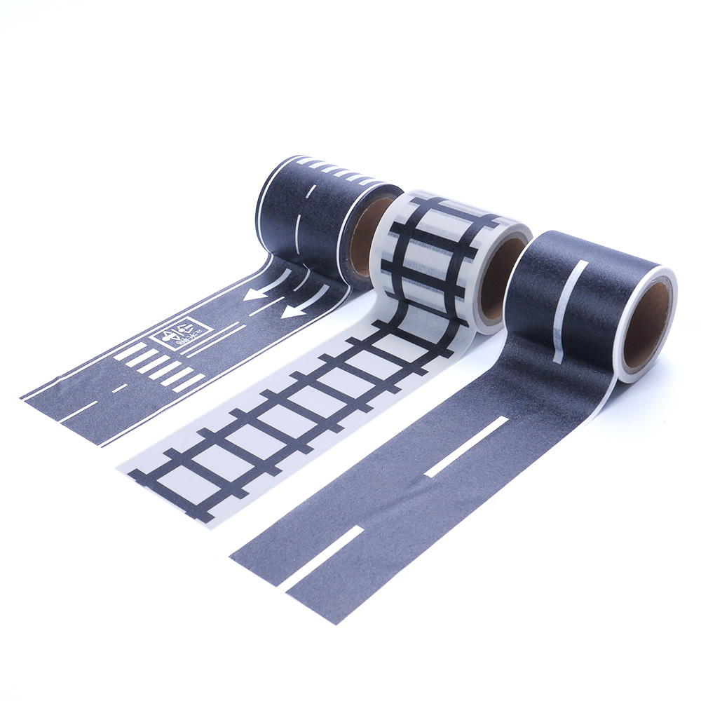 5m Black Railway Road Washi Tape Sticker Wide Creative Traffic Road Adhesive Masking Tape Road For Kids Toy Car Play