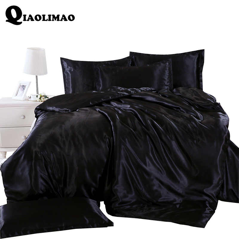 Write Black / White Bedding Sets King Double Size Satin Silk Summer Used Cold Bed Linen China Luxury Bedding Kit Duvet Cover Set