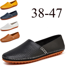 Men Casual Shoes Genuine Leather Footwear Summer Breathable Holes Brand Comfortable Soft Flat Shoes for Men Driving Shoes