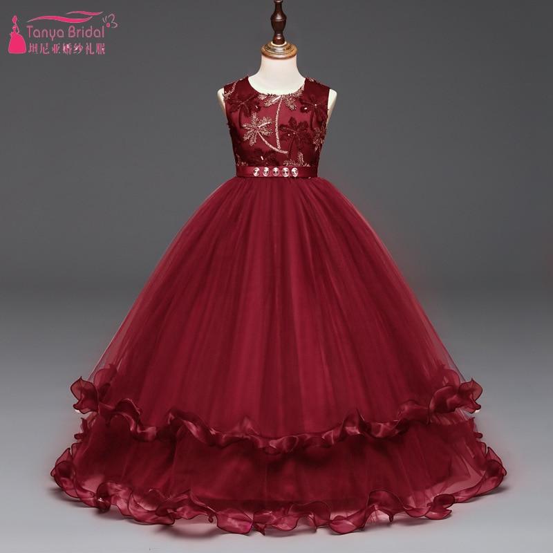 Dark Red Lace And Tulle Flower Girls Dresses Floor Lenght Elegant ...