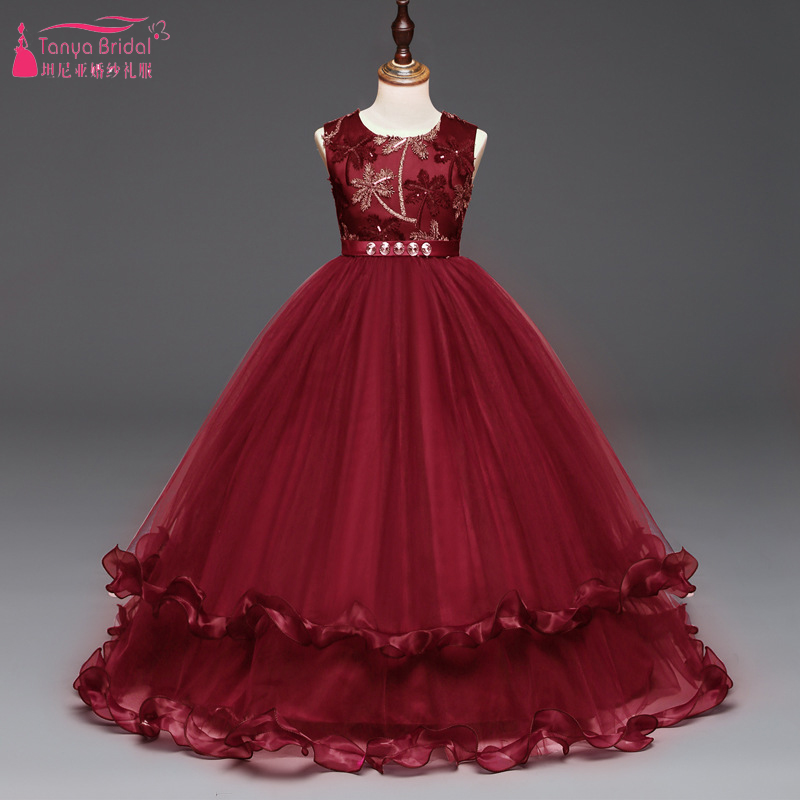 Dark Red Lace And Tulle   Flower     Girls     Dresses   Floor Lenght Elegant Kids Important Formal Party Gowns plus size ZF089