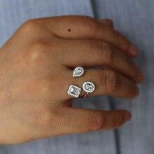 Модные кольца для показа, элегантные блестящие фианиты, CZ, открытые ювелирные изделия для женщин, девушек, белое серебряное заполненное обручальное кольцо